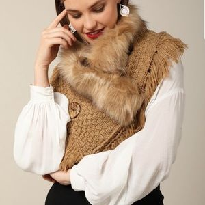 Faux fur infinity scarf in taupe